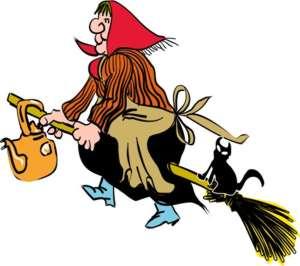 Ragana ant šluotos su katinu